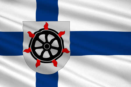 suomi: Flag Of Lahti is a city and municipality in Paijanne Tavastia region in Finland. 3d illustration