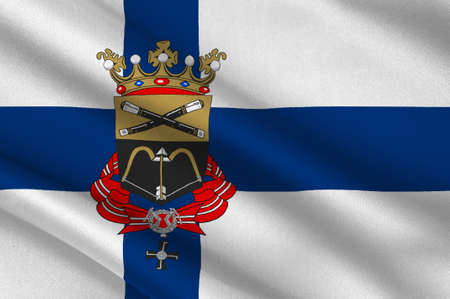 finnish: Flag Of Mikkeli city and municipality in Eastern Finland Province. 3d illustration