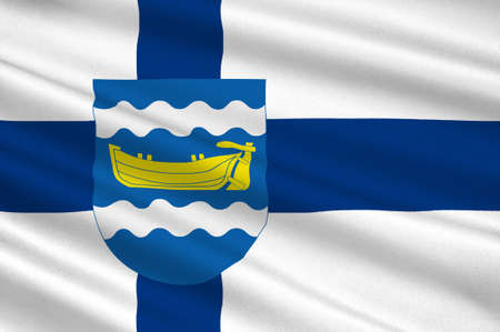 suomi: Flag Of Uusimaa or Nyland region in Finland. 3d illustration