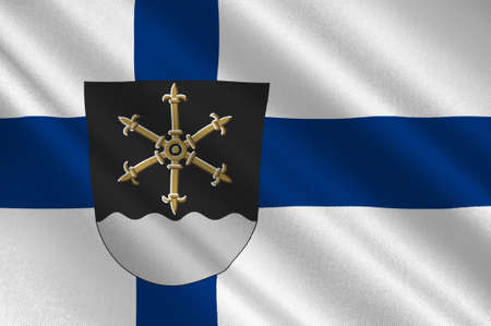 suomi: Flag Of Kouvola is a town and municipality in Kymenlaakso region in Finland. 3d illustration Stock Photo