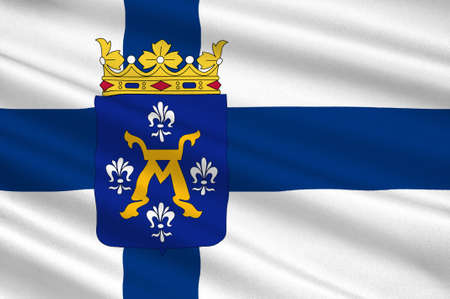 suomi: Flag of Turku is a city on the southwesin Western Finland Province of Finland. 3d illustration