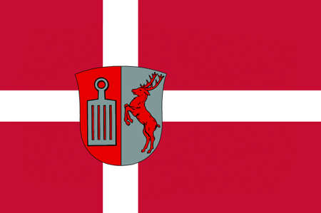 municipality: Flag of Herlev is a municipality in Region Hovedstaden of Denmark. 3d illustration Stock Photo
