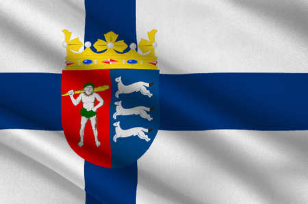 lapland: Flag Of Province of Lapland is a province of Finland. 3d illustration