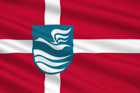 danish flag: Flag of Fureso is a municipality in Region Hovedstaden of Denmark. 3d illustration Stock Photo