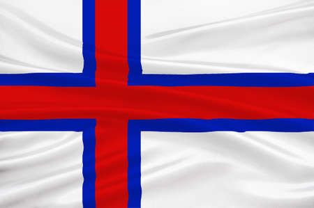 dependency: Flag of Faroe Islands is an island country of Denmark Kingdom. 3d illustration