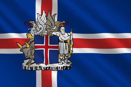 Flag of Republic of Iceland is a Nordic island country. 3d illustration Stock Photo