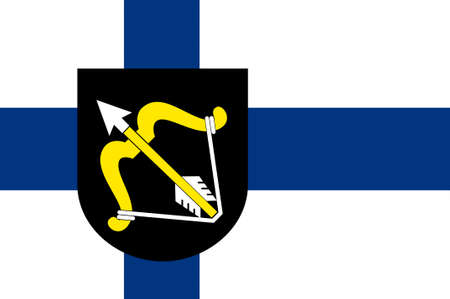suomi: Flag Of Northern Savonia is a region in eastern Finland. 3d illustration