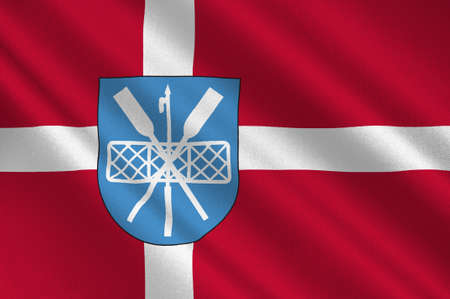 municipality: Flag of Lyngby-Taarbek is a municipality in Region Hovedstaden of Denmark. 3d illustration Stock Photo