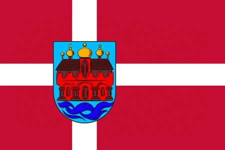 commune: Flag of Aalborg is a municipality in Region Nordjylland on the Jutland peninsula in northern Denmark. 3d illustration Stock Photo