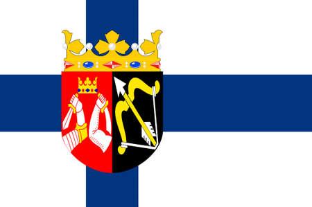 Flag of Eastern Finland Province of Finland. 3d illustration Imagens