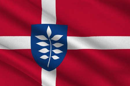 commune: Flag of Rudersdal is a municipality in Region Hovedstaden of Denmark. 3d illustration Stock Photo