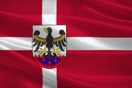 commune: Flag of Roskilde is a municipality in Denmark in Zealand Region. 3d illustration