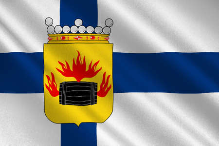 suomi: Flag Of Kokkola is a town and municipality in Central Ostrobothnia region in Finland. 3d illustration Stock Photo