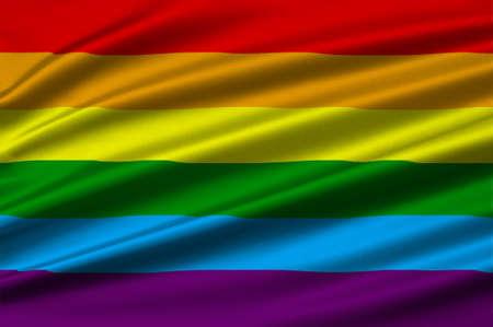 Rainbow Gay and LGBT Flag on texture satin. 3D illustration