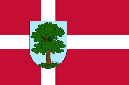 commune: Flag of City Hillerod is located in the north of the island of Zealand, north of Copenhagen. The administrative center of the commune and the chief town Hillared Danish region Hovedstaden. 3d illustration