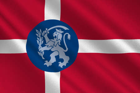 commune: Flag of Fredericia in Southern Denmark Region. 3d illustration Stock Photo