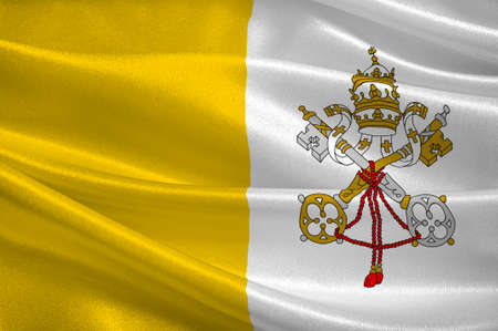Flag of Vatican City officially Vatican City State  is a walled enclave within the city of Rome. 3d illustration