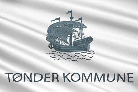 danish flag: Flag of Toender is a municipality in Region Hovedstaden of Denmark. 3d illustration