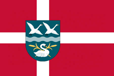 danish flag: Flag of Vallensbek is a municipality in Region Hovedstaden on the east coast of the island of Zealand in eastern Denmark. 3d illustration Stock Photo