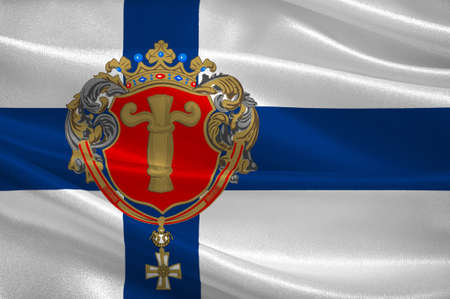 Flag Of Vaasa is a city in Ostrobothnia region in Finland. 3d illustration Stock Photo