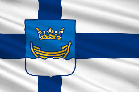 suomi: Flag Of Helsinki is the capital and largest city of Finland. 3d illustration