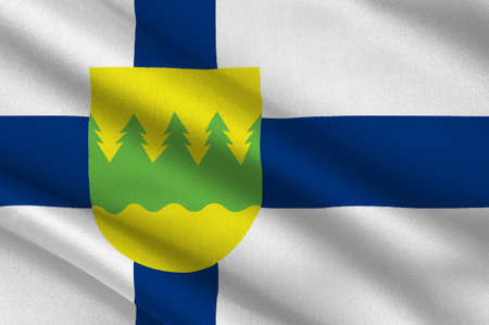 Flag Of Kainuu is one of the 19 regions of Finland. 3d illustration