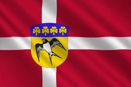 commune: Flag of Gladsaxe is a municipality in Region Hovedstaden on the island of Zealand in eastern Denmark. 3d illustration