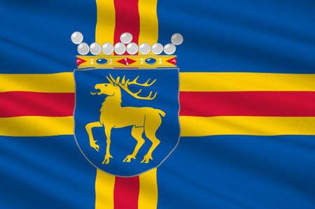 Flag Of Aland Islands is a region of Finland. 3d illustration