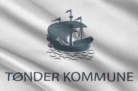 commune: Flag of Toender is a municipality in Region Hovedstaden of Denmark. 3d illustration