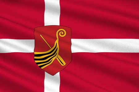 southern: Flag of Kerteminde in Southern Denmark Region. 3d illustration