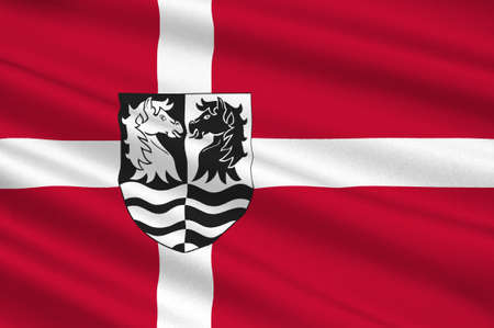 danish flag: Flag of Faxe is a municipality in Zealand Region of Denmark. 3d illustration Stock Photo