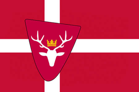 commune: Flag of Hoersholm is a municipality in Region Hovedstaden of Denmark. 3d illustration Stock Photo