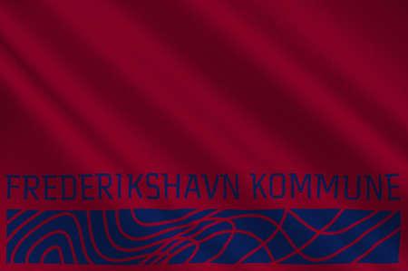 danish flag: Flag of Frederikshavn is a municipality in Region Nordjylland in Denmark. 3d illustration