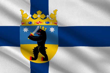suomi: Flag Of Satakunta region in Finland. 3d illustration