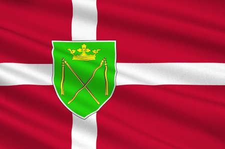 commune: Flag of Bronderslev is a municipality in Region Nordjylland in Denmark. 3d illustration