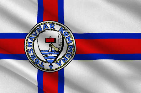 norway flag: Flag of Torshavn is the capital and largest city of the Faroe Islands of Denmark Kingdom. 3d illustration