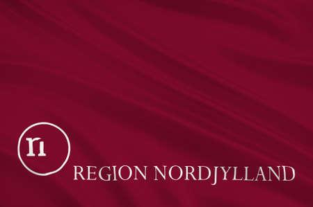 commune: Flag of North Jutland Region of Denmark. 3d illustration Stock Photo