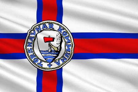 Flag of Torshavn is the capital and largest city of the Faroe Islands of Denmark Kingdom. 3d illustration