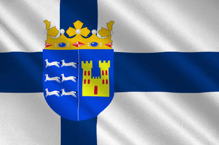 Flag Of Province of Oulu is a province of Finland. 3d illustration Imagens