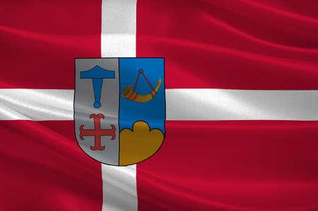commune: Flag of Ishoj is a municipality in Region Hovedstaden of Denmark. 3d illustration
