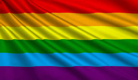 Rainbow Gay and LGBT Flag on texture satin. 3D illustration