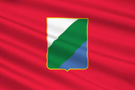 italia: Flag of Abruzzo is a region of Italy. 3d illustration Stock Photo