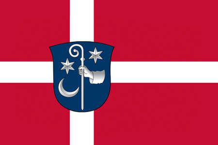 danish flag: Flag of Soro is a municipality in Denmark in Zealand Region. 3d illustration Stock Photo