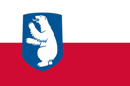 greenlandic: Flag of Greenland is an island country of Denmark Kingdom. 3d illustration