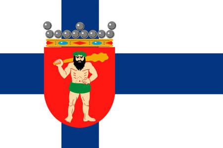Flag Of Lapland is the largest and northernmost region of Finland. 3d illustration