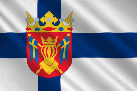 finnish: Flag Of Southwest Finland, also known in English as Finland Proper region in Finland. 3d illustration