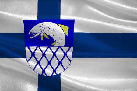Flag Of Kymenlaakso region in Finland. 3d illustration