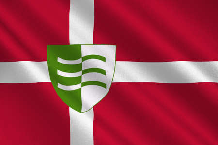 danish flag: Flag of Lejre is a municipality in Denmark in Zealand Region. 3d illustration