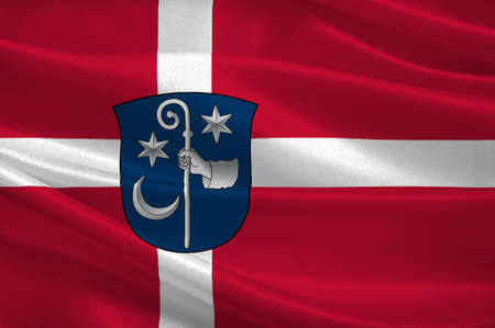 commune: Flag of Soro is a municipality in Denmark in Zealand Region. 3d illustration Stock Photo