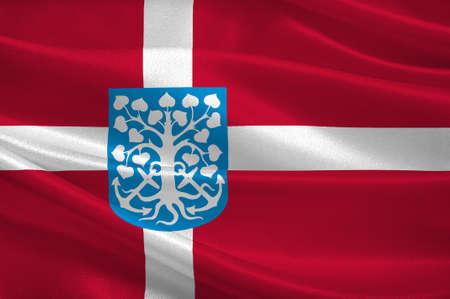 southern: Flag of Esbjerg in Southern Denmark Region. 3d illustration